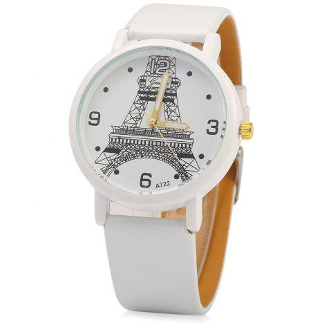 Best Geneva A722 Women Quart Watch Arabic Numerals and Dot Scale Leather Band