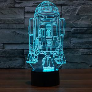 R2D2 Shape 3D RGB LED Night Light Color Changing Decorative Table Lamp -