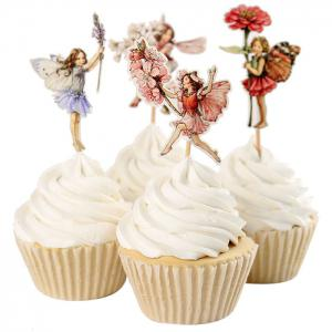 24PCS Flower Fairy Cupcake Toppers Picks Cake Insert Card Birthday Christmas Party Decoration - COLORMIX