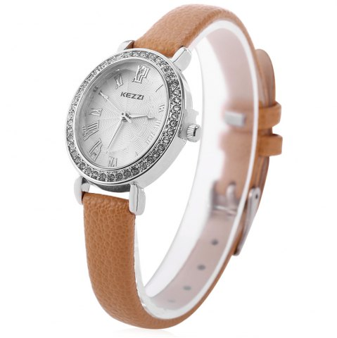 Cheap KEZZI K - 873 Women Quartz Watch Artificial Diamond Wristwatch BROWN