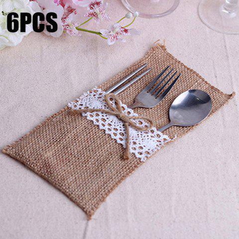 Trendy 6PCS Hessian Rustic Wedding Burlap and Lace Cutlery Silverware Holder Pocket Knife Fork Storage Bag
