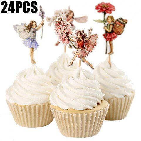 Fashion 24PCS Flower Fairy Cupcake Toppers Picks Cake Insert Card Birthday Christmas Party Decoration