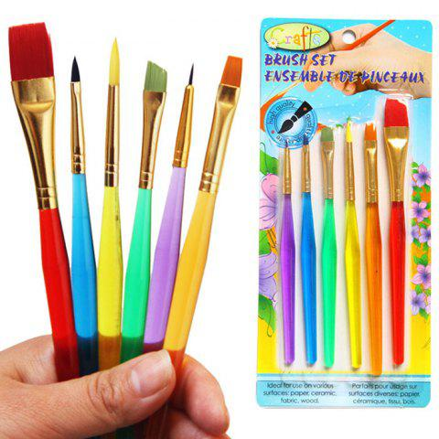 Latest 6PCS Colorful Egg Painting Brush Washable Drawing Supply COLORMIX