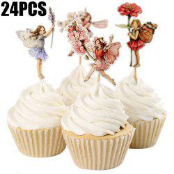 24PCS Flower Fairy Cupcake Toppers Picks Cake Insert Card Birthday Christmas Party Decoration -