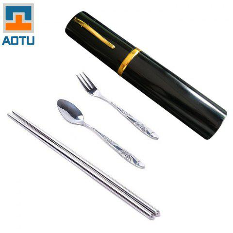 AOTU AT6362 3 in 1 Stainless Steel Chopsticks Fork Spoon Cutlery Set for Camping - BLACK