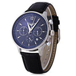 GUANQIN GQ001 Water Resistance Male Japan Luxury Quartz Watch Leather Watchband Working Sub-dials -