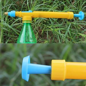Plastic Pressure Type Water Spraying Sprayer Head Beverage Bottle Nozzle Garden Accessory - BLUE AND YELLOW