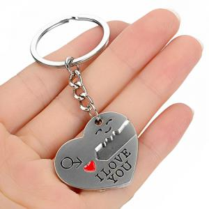2PCS Creative I Love You Pattern Keychain for Lovers -