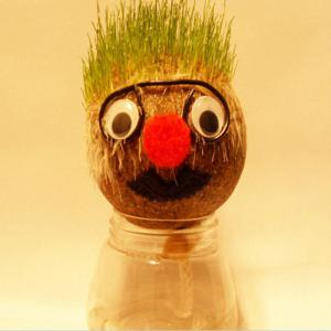 DIY Grass Doll Head Plant Pot Creative Desktop Office Potted Bonsai Decoration -