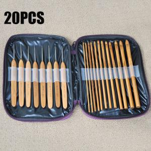 20PCS Bamboo Sewing Crochet Hooks Weave Knitting Needles - Brown