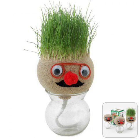 Outfit DIY Grass Doll Head Plant Pot Creative Desktop Office Potted Bonsai Decoration