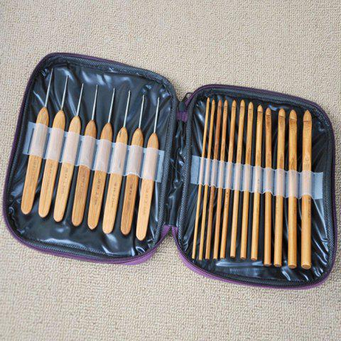 Fancy 20PCS Bamboo Sewing Crochet Hooks Weave Knitting Needles - BROWN  Mobile