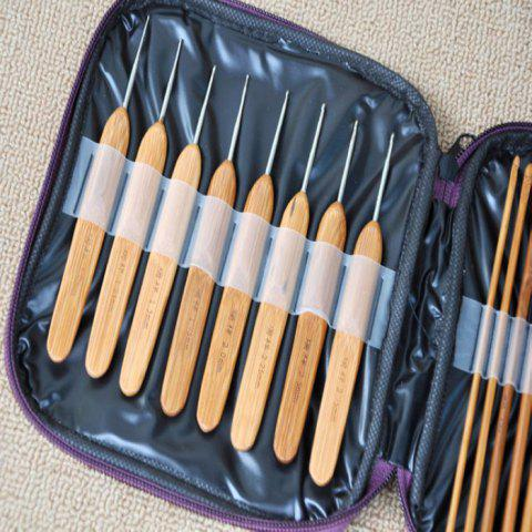 Cheap 20PCS Bamboo Sewing Crochet Hooks Weave Knitting Needles - BROWN  Mobile