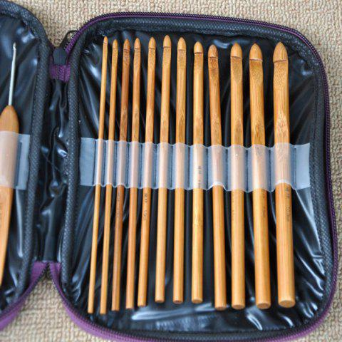 Best 20PCS Bamboo Sewing Crochet Hooks Weave Knitting Needles - BROWN  Mobile