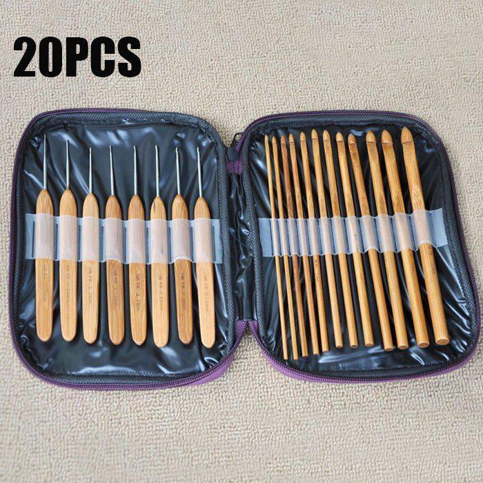 20PCS Bamboo Sewing Crochet Hooks Weave Knitting NeedlesHOME<br><br>Color: BROWN; Type: Practical; For: All; Occasion: Home; Functions: Multi-functions; Material: Bamboo;