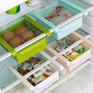Multi-functional Adjustable Fridge Storage Sliding Drawer Refrigerator Organizer Space Saver Shelf - PINK