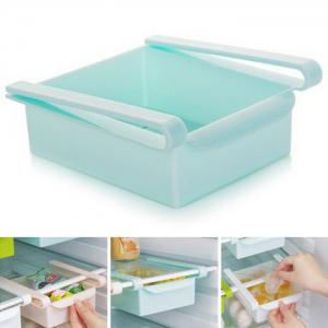 Multi-functional Adjustable Fridge Storage Sliding Drawer Refrigerator Organizer Space Saver Shelf - Blue