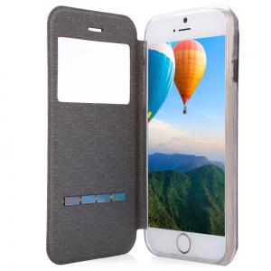 Matte Flip Leather Protective Case Smart Metal Sliding Answer Phone Cover for iPhone 6 Plus / 6s Plus -