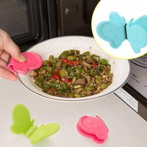 Butterfly Shaped Silicone Magnets Cooking Plate Pot Clip Holders Heat Resistant Surface Protectors - COLORMIX