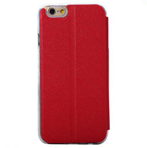 Outfit Matte Flip Leather Protective Case Smart Metal SlidingAnswer Phone Cover for iPhone 6 Plus / 6s Plus - RED  Mobile