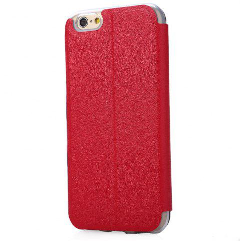 New Matte Flip Leather Protective Case Smart Metal SlidingAnswer Phone Cover for iPhone 6 Plus / 6s Plus - RED  Mobile