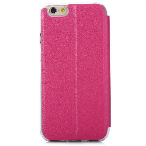 Trendy Matte Flip Leather Protective Case Smart Metal SlidingAnswer Phone Cover for iPhone 6 Plus / 6s Plus - ROSE  Mobile