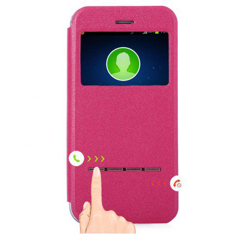 Outfit Matte Flip Leather Protective Case Smart Metal SlidingAnswer Phone Cover for iPhone 6 Plus / 6s Plus - ROSE  Mobile