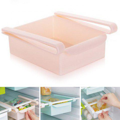 Online Multi-functional Adjustable Fridge Storage Sliding Drawer Refrigerator Organizer Space Saver Shelf PINK