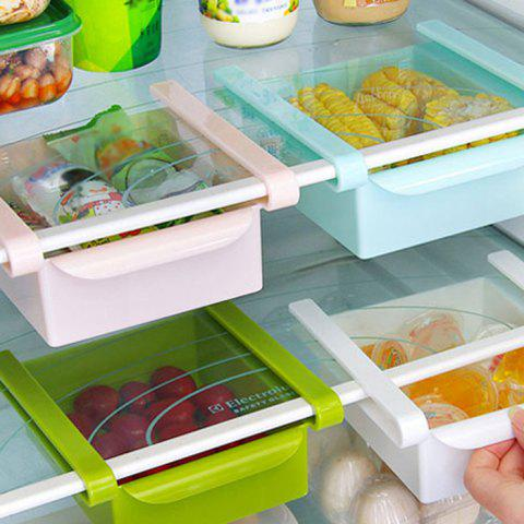 Unique Multi-functional Adjustable Fridge Storage Sliding Drawer Refrigerator Organizer Space Saver Shelf - GREEN  Mobile