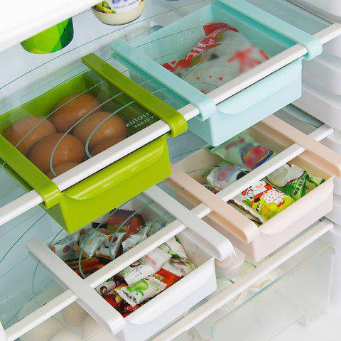 Fashion Multi-functional Adjustable Fridge Storage Sliding Drawer Refrigerator Organizer Space Saver Shelf - GREEN  Mobile