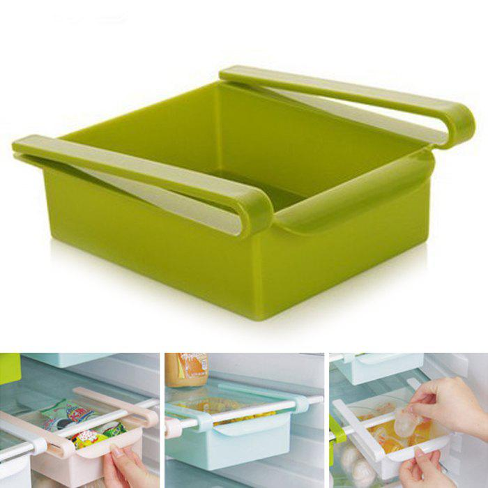Multi-functional Adjustable Fridge Storage Sliding Drawer Refrigerator Organizer Space Saver ShelfHOME<br><br>Color: GREEN; Types: Storage Holders and Racks; Functions: Home,Kitchen,Office; Materials: Plastic; Available Color: Blue,Green,Pink,White;