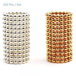 3mm Round Shape Magnetic Ball Puzzle Novelty Toy for DIY - 432Pcs - Silver And Golden - Style 1