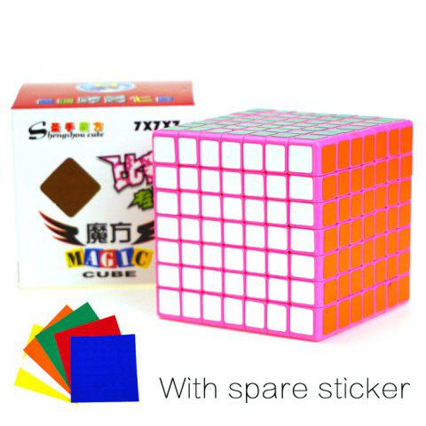 New Shengshou Cube Glossy 7 x 7 x 7 V-Cube 7 Pink Base Fun Educational Toy