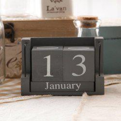 Creative Home Wooden Calendar Desktop Office Practical Small Desk Decoration - GRAY