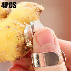 4PCS Multi-functional Stainless Steel Thumb Ring Ginger Peeler Convenient Garlic Scraper -