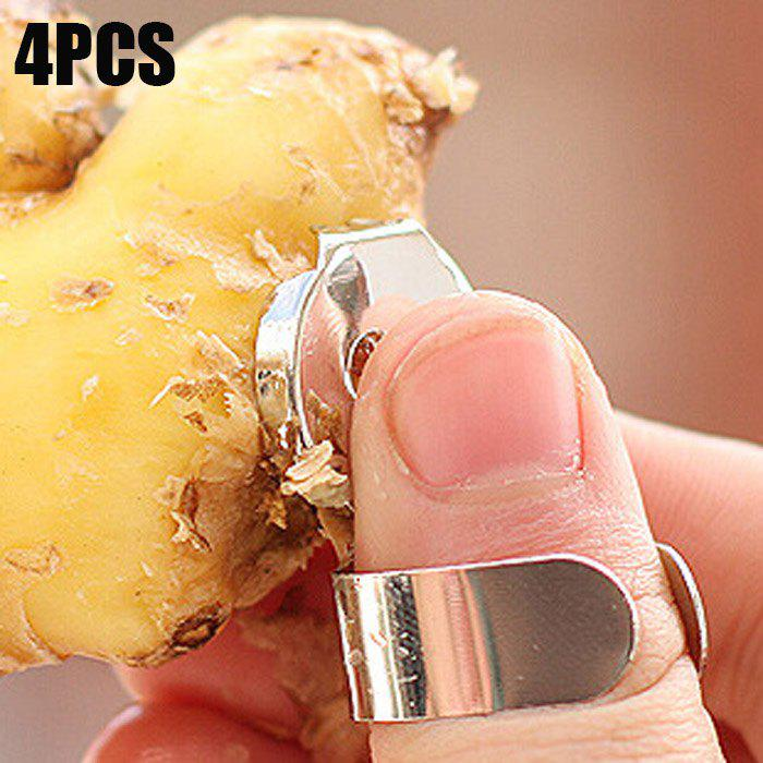 Latest 4PCS Multi-functional Stainless Steel Thumb Ring Ginger Peeler Convenient Garlic Scraper