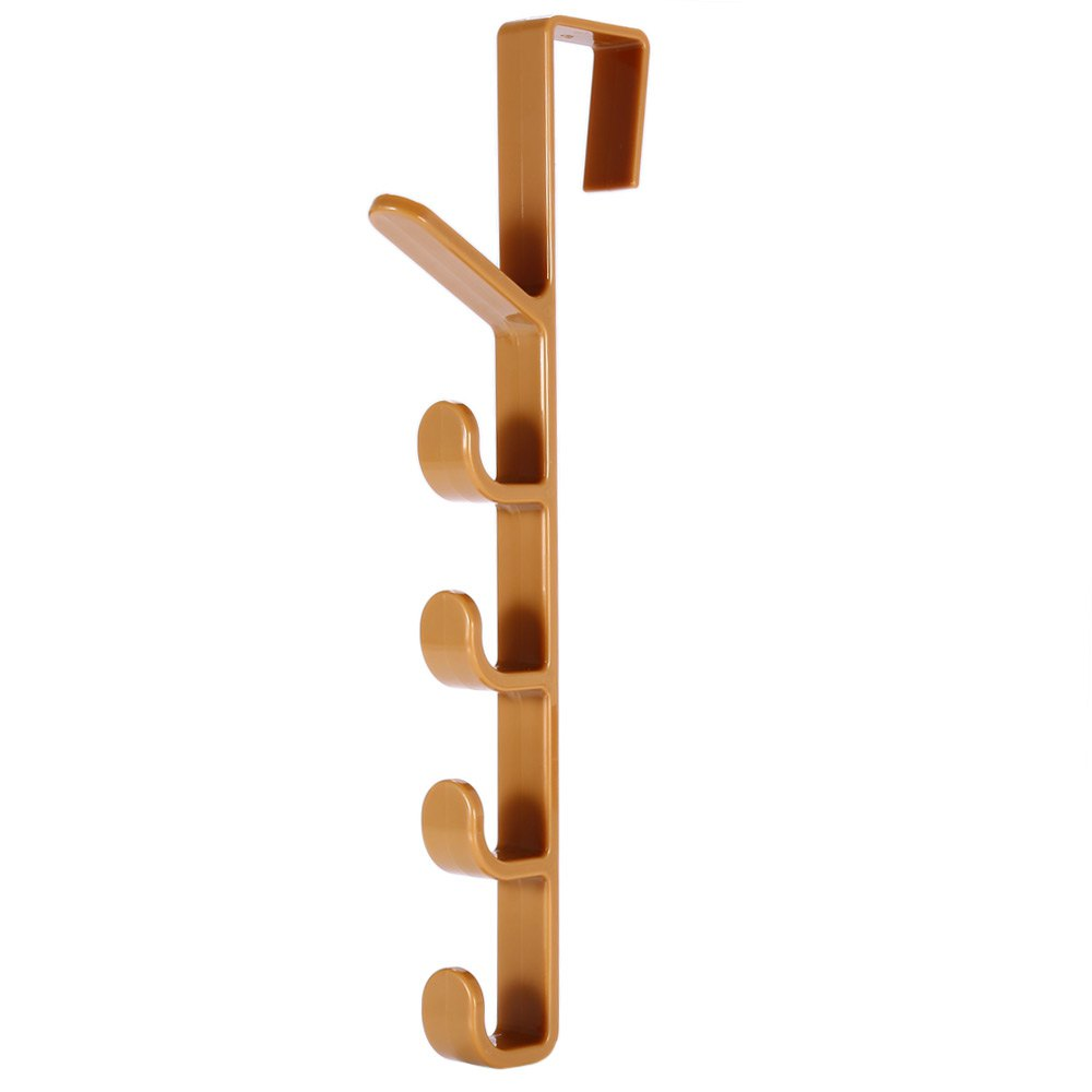 Resin Houseware Door Hanger Vertical 5 Hooks RackHOME<br><br>Color: COLORMIX; Materials: Resin; Available Color: Blue,Coffee,White;