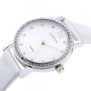 WESTCHI 3113L Diamond Scale Female Quartz Watch Genuine Leather Band -