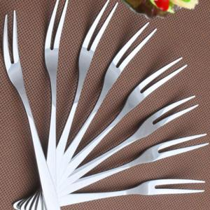 10PCS Stainless Steel Fruit Fork Household Supply - SILVER