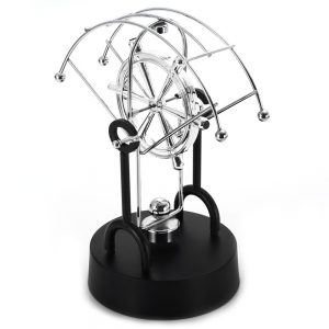 Creative Fan-shaped Dolphin Kinetic Desk Toy Swing Ball Furniture Decoration - SILVER/BLACK