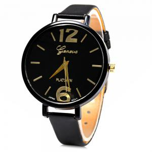 Geneva Big Round Dial Wristwatch Female Japan Quartz Watch Slim Leather Band - Black