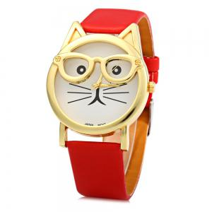 Round Dial Cat Glasses Shape Dial Wristwatch Female Japan Quartz Watch Leather Band -