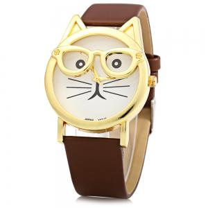 Round Dial Cat Glasses Shape Dial Wristwatch Female Japan Quartz Watch Leather Band - Brown