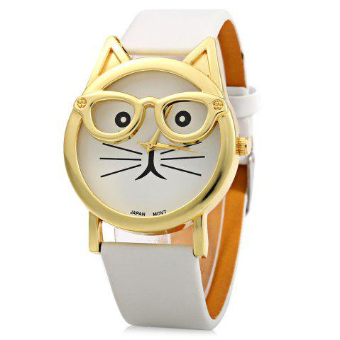 Cheap Round Dial Cat Glasses Shape Dial Wristwatch Female Japan Quartz Watch Leather Band