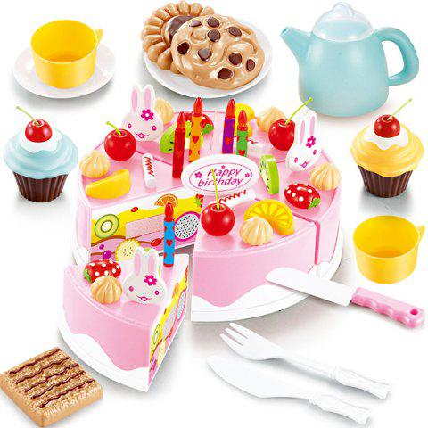 Sale 54Pcs DIY Cutting Birthday Cake Simulation Toy Set Toy Playing House Game