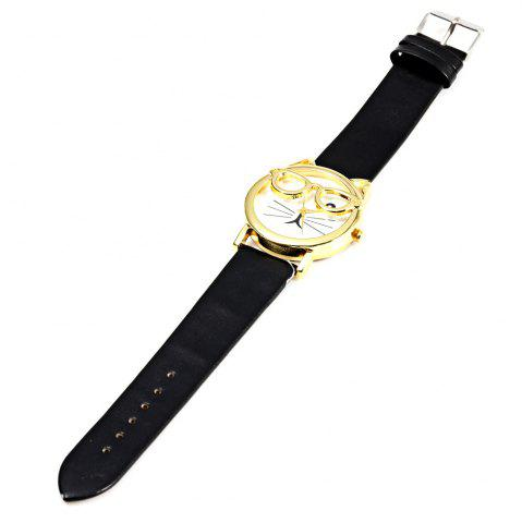 Affordable Round Dial Cat Glasses Shape Dial Wristwatch Female Japan Quartz Watch Leather Band - BLACK  Mobile