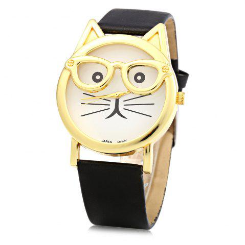 Outfit Round Dial Cat Glasses Shape Dial Wristwatch Female Japan Quartz Watch Leather Band BLACK