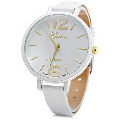 Geneva Big Round Dial Wristwatch Female Japan Quartz Watch Slim Leather Band - WHITE