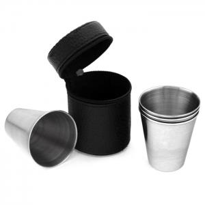 4PCS Stainless Steel Cup Camping Travel Mug Coffee Beer Drinking Tool - SILVER