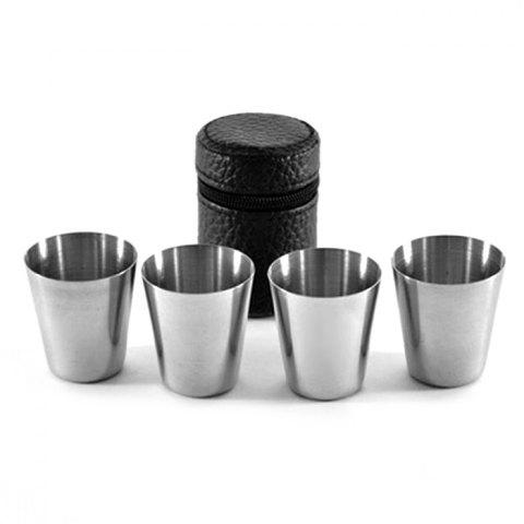 Sale 4PCS Stainless Steel Cup Camping Travel Mug Coffee Beer Drinking Tool